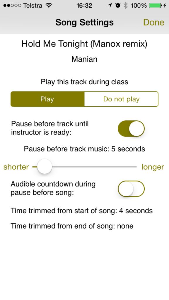 song settings wait